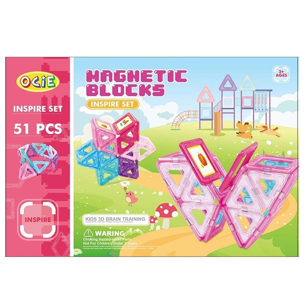 Magnetic blocks, Магнитен конструктор, розов, 51 части, Ocie