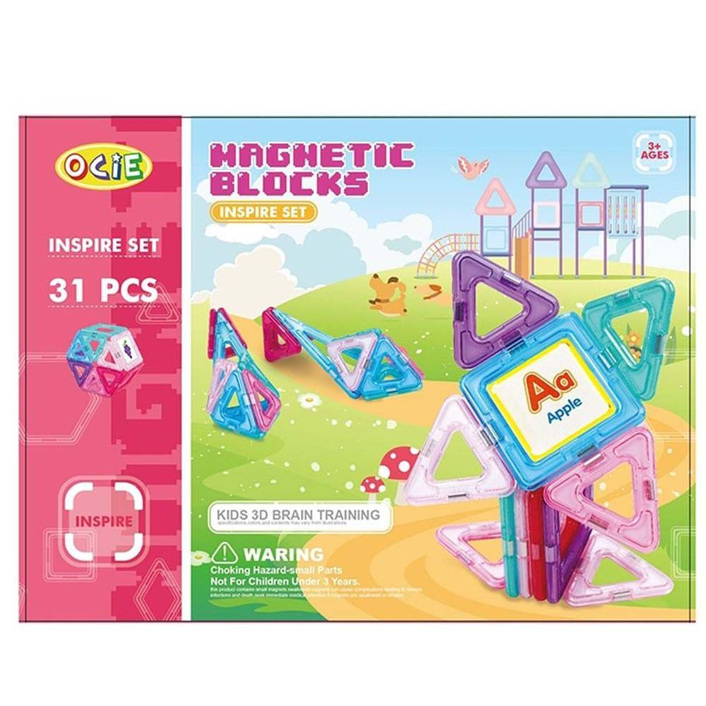 Magnetic blocks, Магнитен конструктор, розов, 31 части, Ocie