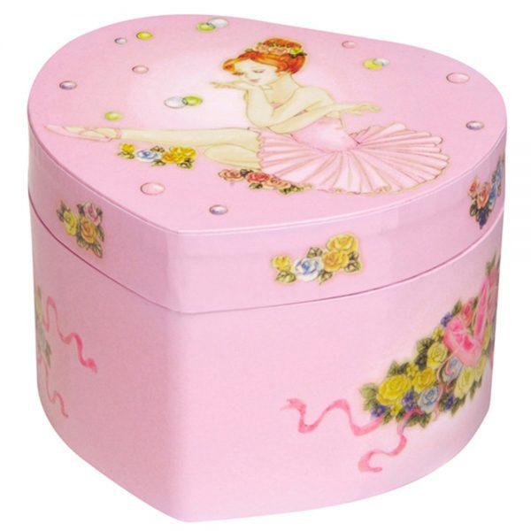 Музикална кутия балерина, малко сърце с розово туту