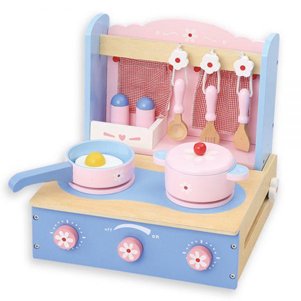 Andreu toys 15017, Дървена настолна синя кухня - сгъваема