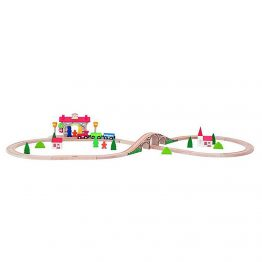 Woody 90587, Дървен влак с релси със звук и светлина