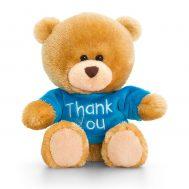 Keel Toys SB0307, Плюшено мече със синя тениска Thank you