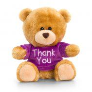Keel Toys SB0307, Плюшено мече с лилава тениска Thank you