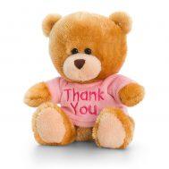 Keel Toys SB0307, Плюшено мече с розова тениска Thank you