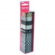 Sense 28070, Декоративно тиксо WASHI TAPE, 8 броя черно-бели и 2 броя металик