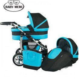 Комплект количка за бебе и кош Leo 2 в 1 синьо