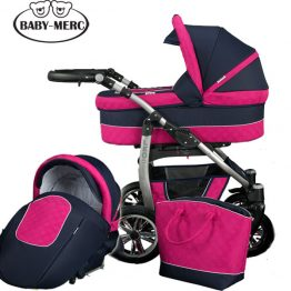Комплект количка за бебе и кош Leo 2 в 1 розово