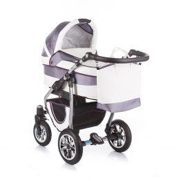 Комплект количка за бебе и кош Leo 2 в 1 сиво
