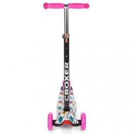 Тротинетка със светещи колела, цветна с розови дръжки и колела