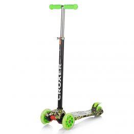 Тротинетка със светещи колела, цветна с зелени дръжки и колела