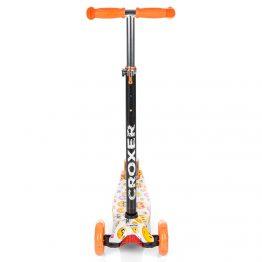Тротинетка със светещи колела, цветна с оранжеви дръжки и колела